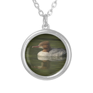 Female Common Merganser red headed sea duck Silver Plated Necklace