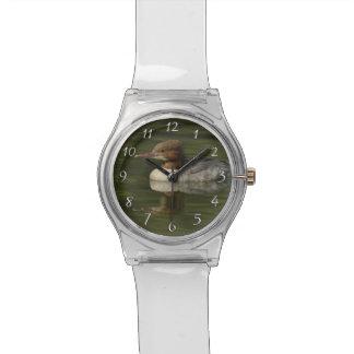 Female Common Merganser red headed sea duck Wrist Watch