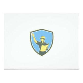 Female Construction Worker Engineer Shield Retro 17 Cm X 22 Cm Invitation Card