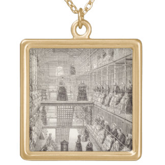 Female Convicts at Work during the Silent Hour in Square Pendant Necklace