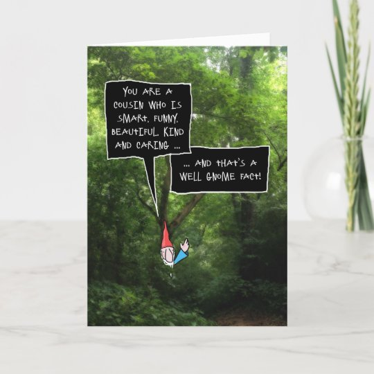Female Cousin Birthday Humorous Gnome In Forest Card