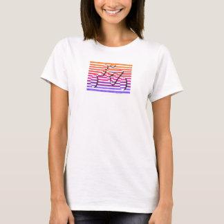 female cyclist multi color stripes T-Shirt