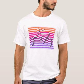 female cyclist orange pink purple stripes T-Shirt