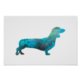 Female Dachshund in watercolor Poster