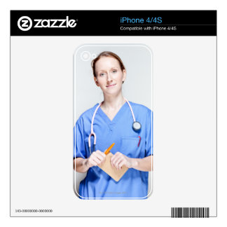 Female Doctor in Scrubs Decals For iPhone 4