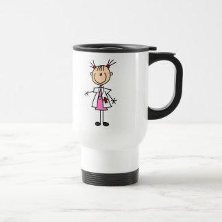 Female Doctor Stick Figure 15 Oz Stainless Steel Travel Mug