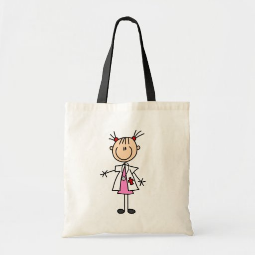 Female Doctor Stick Figure Canvas Bags