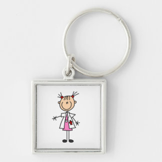 Female Doctor Stick Figure Keychain