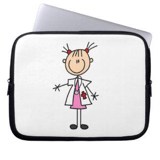 Female Doctor Stick Figure Laptop Sleeve
