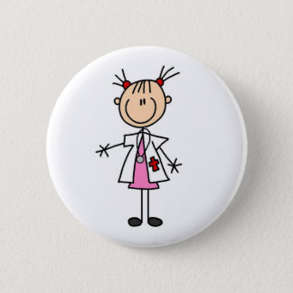 Female Doctor Stick Figure Pinback Button