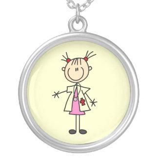 Female Doctor Stick Figure Round Pendant Necklace
