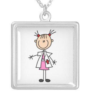 Female Doctor Stick Figure Square Pendant Necklace