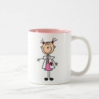 Female Doctor Stick Figure Two-Tone Coffee Mug