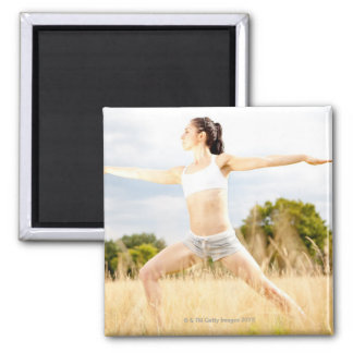 Female Does Yoga Stretch 2 Inch Square Magnet