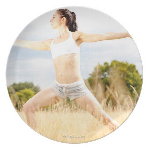 Female Does Yoga Stretch Melamine Plate