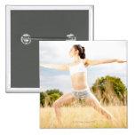 Female Does Yoga Stretch Pinback Button
