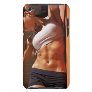 Female doing intense crunches, iPod touch case
