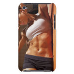 Female doing intense crunches, iPod touch cover