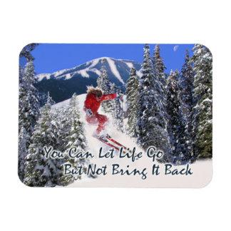 Female Downhill Skiier Motivate Fridge Magnet