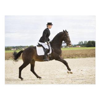 female dressage rider exercising 2 post card