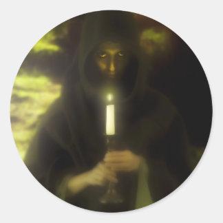 Female druid in forest round sticker