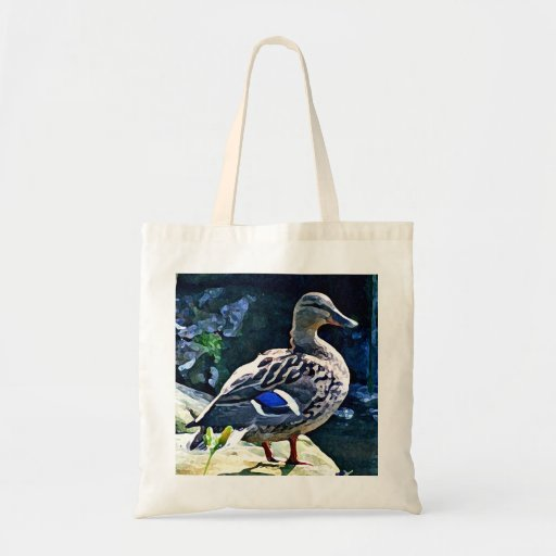 Female Duck Keeping an Eye on You Canvas Bags