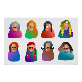 Female Emoticons Poster