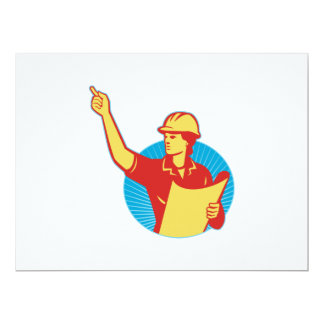 Female Engineer Construction Worker Pointing Retro 6.5x8.75 Paper Invitation Card