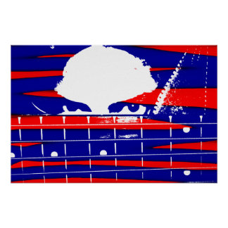 Female eyes over bass fretboard posterized print