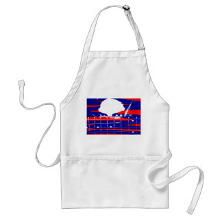 Female eyes over bass fretboard posterized adult apron