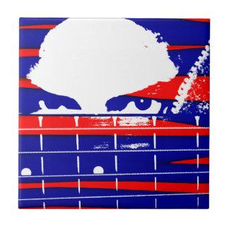 Female eyes over bass fretboard posterized ceramic tile