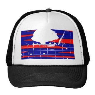 Female eyes over bass fretboard posterized trucker hat