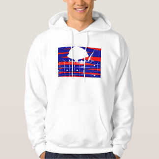 Female eyes over bass fretboard posterized hoodie