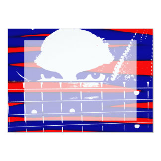 Female eyes over bass fretboard posterized 5x7 paper invitation card