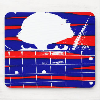 Female eyes over bass fretboard posterized mouse pad