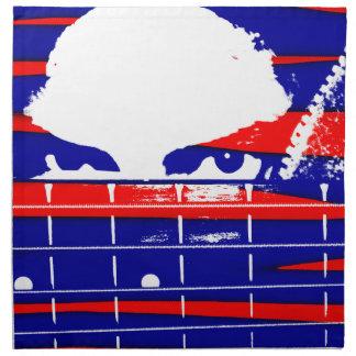 Female eyes over bass fretboard posterized napkin