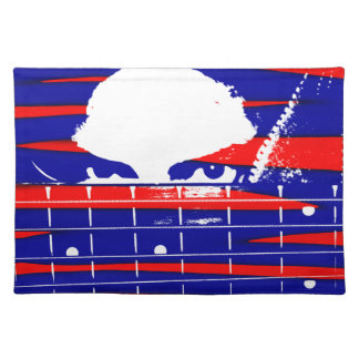 Female eyes over bass fretboard posterized cloth placemat
