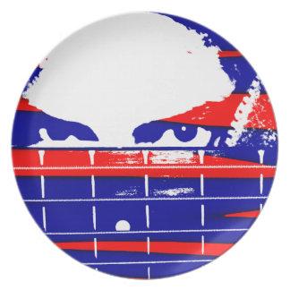 Female eyes over bass fretboard posterized dinner plates