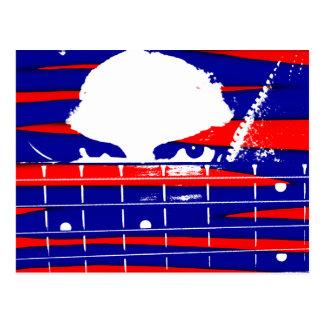 Female eyes over bass fretboard posterized postcard