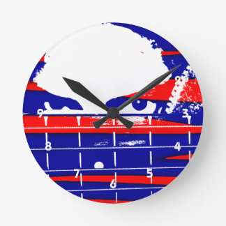 Female eyes over bass fretboard posterized round clock