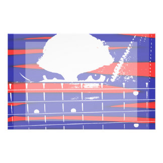 Female eyes over bass fretboard posterized stationery