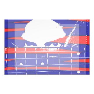 Female eyes over bass fretboard posterized stationery