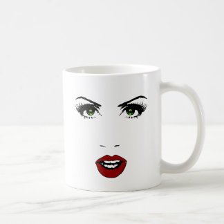 Female Face on Changeable Background Color Classic White Coffee Mug