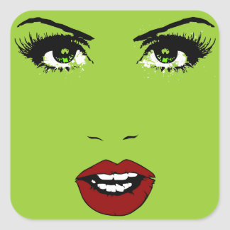 Female Face on Changeable Background Color Square Sticker