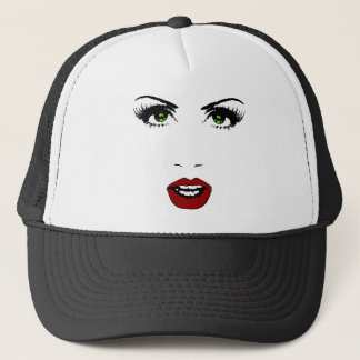 Female Face on Changeable Background Color Trucker Hat