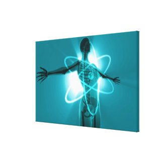 Female figure with an overlay of an atomic symbol stretched canvas print