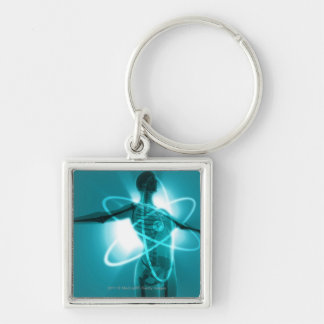 Female figure with an overlay of an atomic symbol keychain