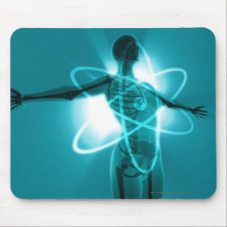 Female figure with an overlay of an atomic symbol mouse pad