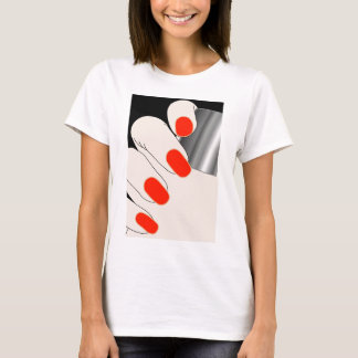 Female fingers with red varnish T-Shirt