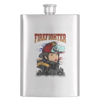 Female firefighter flask